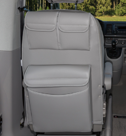 "UTILITY mit MULTIBOX Maxi für Fahrerhaussitze VW T6/T5 California Beach / Multivan, Design ""Leder Mo"