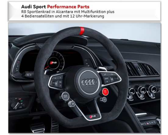 Audi Sport R8 Coupe/Spyder Lenkrad Alcantara -12Uhr Markierung 4-Satell.NEU Abverkauf