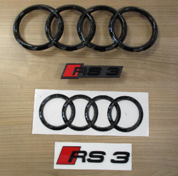 Original Audi RS3 Audiringe vorne hinten und Embleme Typenbezeichung schwarz NEU