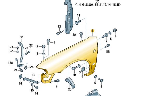 Original AUDI RS4 S4 B5 QUATTRO SPORT Kotflügel RECHTS Unlackiert Fender NEU