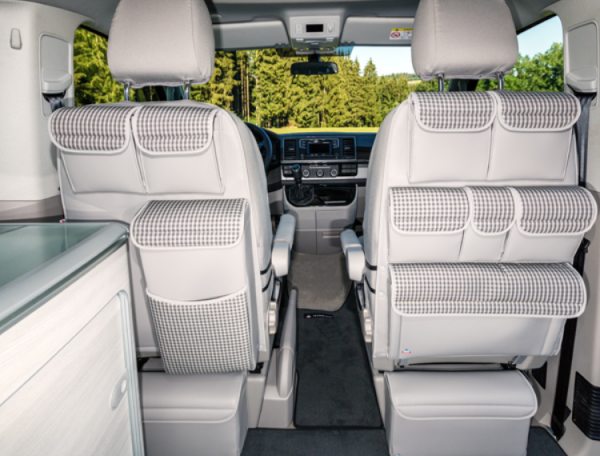 "UTILITY für Fahrerhaussitz links mit MULTIBOX VW T6 California Ocean, Design ""Visitamo/Leder Moonroc"